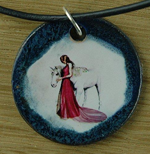 Echtes Kunsthandwerk: Toller Keramik Anhänger Einhorn & Prinzessin; Fabelwesen, Pferd, Flügel, Horn, magisch