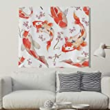 Kirschblüte Koi Fisch Wandteppich Wandbehang Japanisch Stil Tuch Wandtuch Tapestry Tapisserie Wanddeko als Strandtuch Tischdecke Weiß 100x150cm