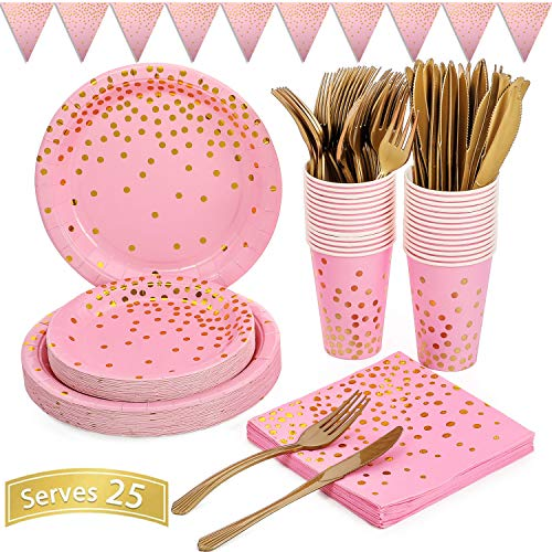 Pink and Gold Party Supplies 150PCS Golden Dot Disposable Party Dinnerware Includes Paper Plates, Napkins, Knives, Forks, 12oz Cups, Banner, for Bachelorette, Girl Birthday, Baby Shower, Serves 25
