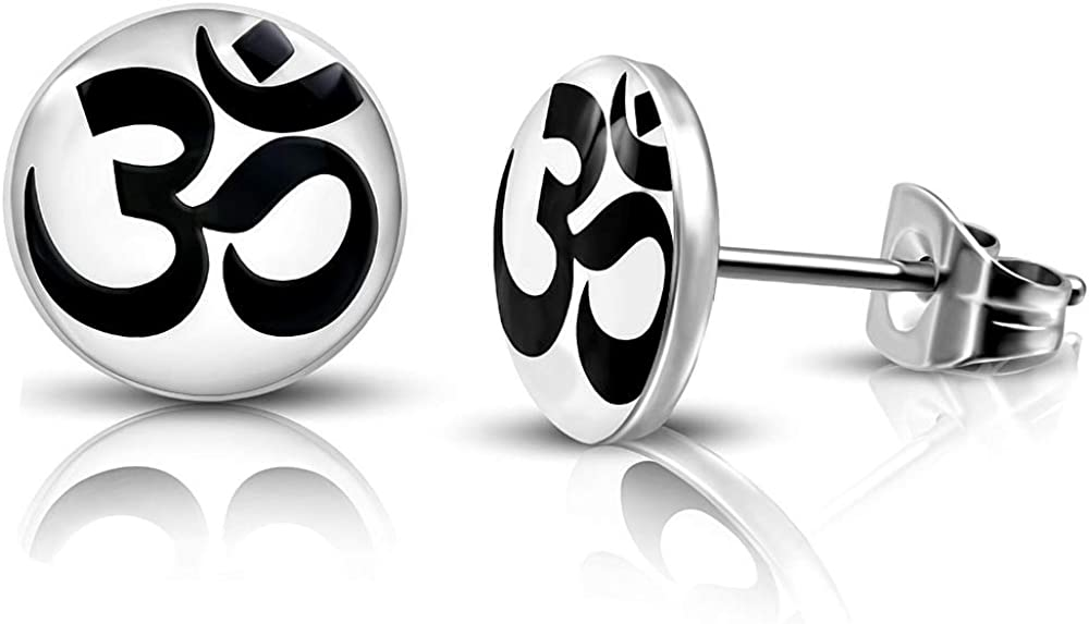 DianaL Boutique 316L Stainless Steel Om Ohm Aum Symbol Earrings Stud Two Tone Gift Boxed Fashion Jewelry
