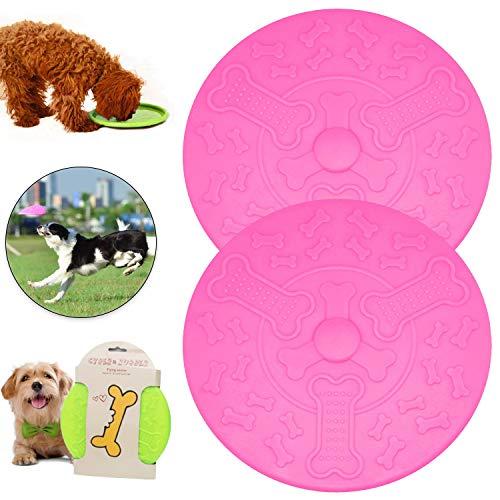 Sunshine smile Hundefrisbees,hundespielzeug Frisbee,Gummi Frisbee,Hundespielzeug,Hunde Scheiben,Interaktive Outdoor-Spielzeug für Hunde,Hundetraining, Werfen, Fangen & Spielen (Rot)