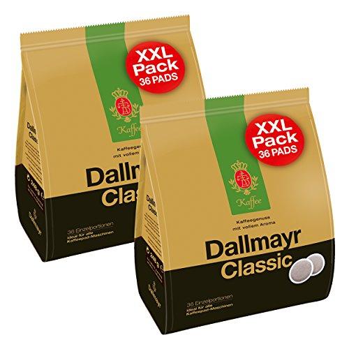 Dallmayr Classic Kaffeepads XXL, für alle Pad Maschinen, Röstkaffee, Kaffee, Sanft, 2 x 36 Pads