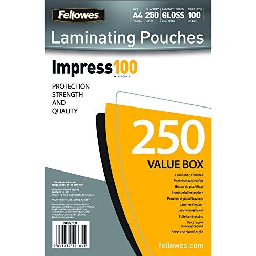 Fellowes 53511 Laminierfolien (Impress 100 Mikron, DIN A4) 100er Pack