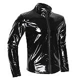 TiaoBug Herren Langarmshirt schwarz Wetlook Kunstleder Jacke Hemd T-Shirt Slim Fit Männer Glanz Tops mit Stehkragen und Reißverschluss Party Clubwear M-XXL Schwarz 1 XL