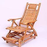 YDLOP Silla Mecedora Individual de bambú, con pedalera de Masaje telescópico Reclinador de Asiento Mayor Plegable 1130-YY (Color : C)