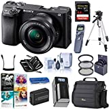 Sony Alpha a6400 24.2MP Mirrorless Digital Camera with 16-50mm f/3.5-5.6 OSS Lens, Bundle with Bag, Intervalometer, Filter Kit, Battery, Charger, 64GB SD Card + Case, Tripod, PC Software Kit + More