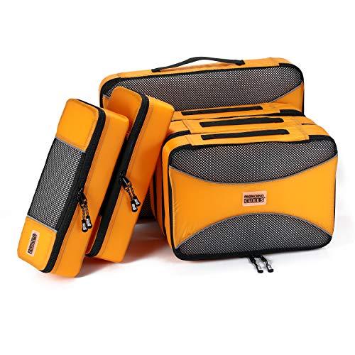 PRO Packing Cubes Packwürfel - 6-Stück Koffer Organizer Set für Organisiertes Packen Ihres Reise Gepäck. Federleichte Packtaschen für Rucksack, Koffer und Kleidertaschen - Sunset Orange