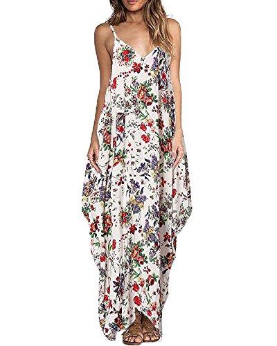 Vestito Lungo Abito Donna Eleganti Scollo a V Casual Tasche Dress Spalline Sottili Boho Fiore Stampato Maxi Lunga Gonna di Vacanze Spiaggia (XXL, Rosa-Fiore)
