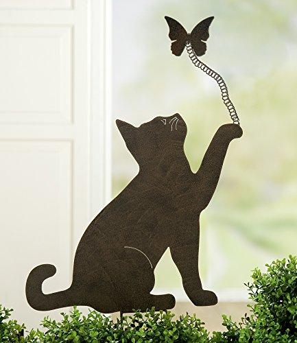 Clou de jardin Gilde 68016 - En métal - Motif chat et papillon - Marron foncé - 48 + 11 x 40 x 59 cm