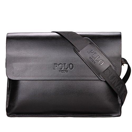 VICUNA POLO Men Messenger Bags Business Bag for Men Leather Shoulder Bag (horizontal, black)