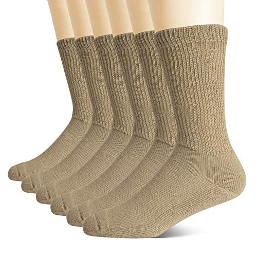 +MD Non-Binding Diabetic Socks for Men Women-6 Pairs Medical Circulatory Crew Socks with Cushion Sole Brown 9-11
