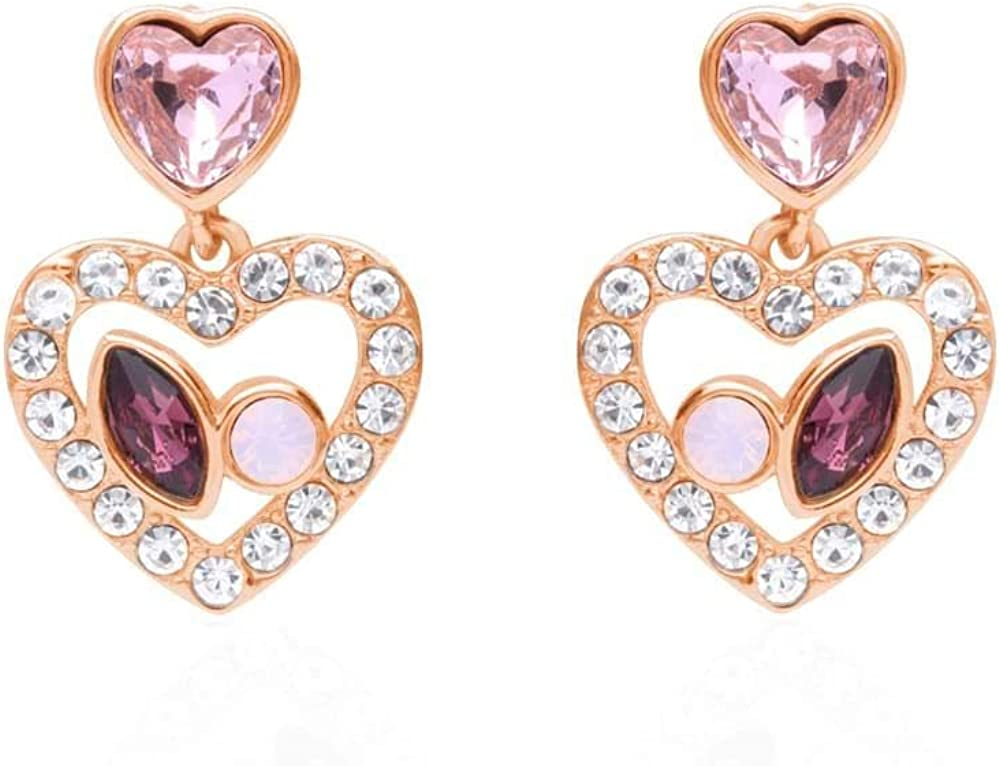 Stroili orecchini per donna pendenti in metallo rosato forma cuore con pietre rosa e strass 1668623