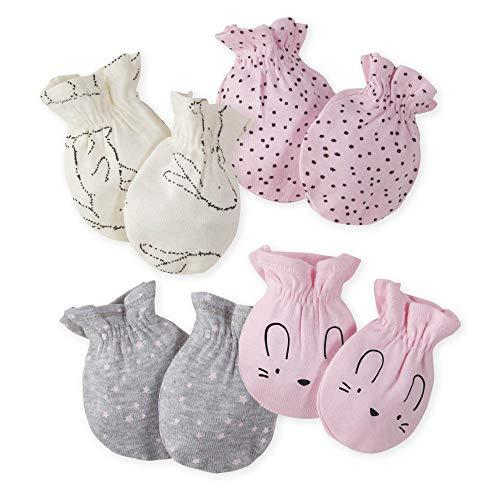 Gerber Baby Girls' 4-Pair Mittens, Bunny Love, 0-3 Months