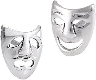 Happy Comedy Tragedy Cutout Faces .925 Sterling Silver Sad Mask Stud Earrings