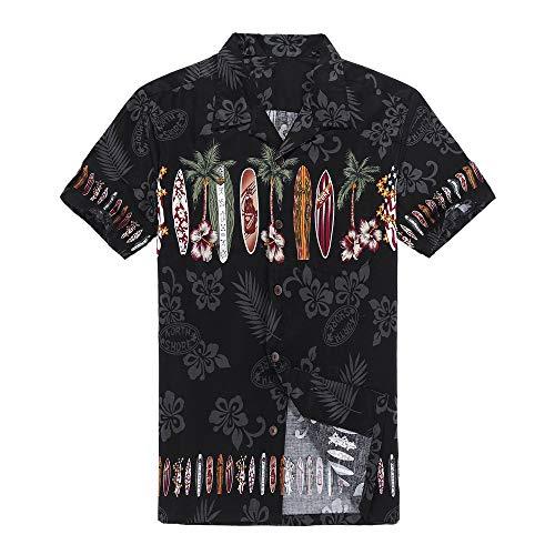 Palm Wave Hombres Aloha Camisa Hawaiana en Tabla de Surf Cruz en Negro XL