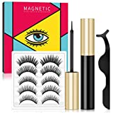 Magnetic Lashes and Magnetic Eyeliner Kit, Upgraded Magnetic Eyelashes with Eyeliner, Magnetic False Eyelashes with Tweezers Natural look Waterproof 5 Pairs