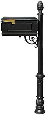 Qualarc Lewiston Cast Aluminum Post Mount Mailbox with Aluminum Mailbox, Ornate Base and Pineapple Finial, Black, Ships in 2