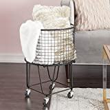 "CosmoLiving by Cosmopolitan 29034 Large Round Black Metal Hamper Basket with Wheels | 17"" x 25"""