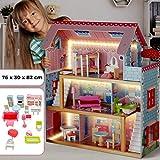 Infantastic Casa delle Bambole in Legno - 76x30x82cm, 3 Livelli di Gioco, 16 Accessori e M...