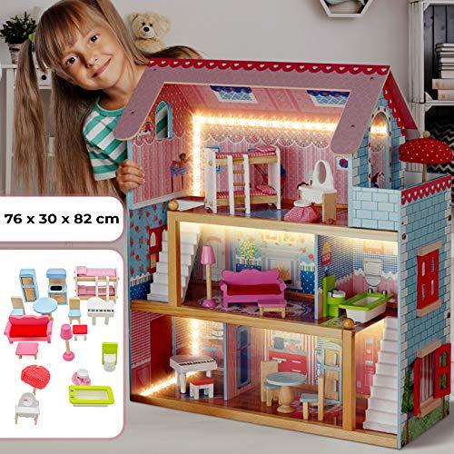 Puppenhaus aus Holz mit LED licht - 3 Spielebenen, mit Möbeln und Zubehör, für 13 cm große Puppen - Puppenvilla, Dollhouse Kinder Spielzeug für Kinderzimmer und Schlafzimmer, für Mädchen und Jungen