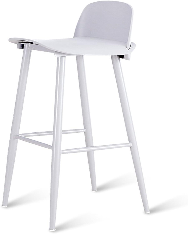 Bar Stool, Plastic Bar Stool, Cafe Breakfast High Chair, White (H60cm  L45cm  W43cm), Backrest Bar Chair ( Size   75cm )