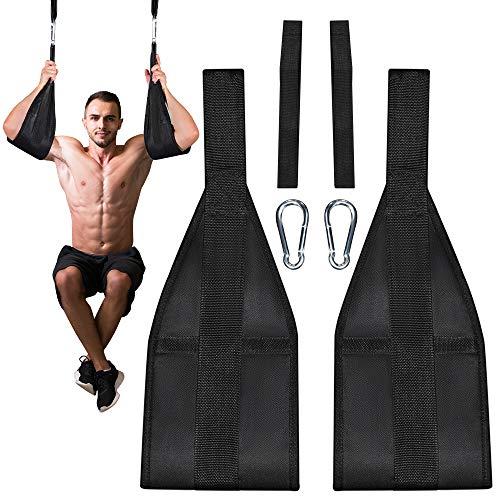 MYSBIKER Bauchmuskelschlaufen Armschlaufen für Bauchtraining, Klimmzugstange Bauchtrainer Schlaufen,Ab Straps Slings für Tür Reck und Turnstange Muskelaufbau und Kernkrafttraining,einstellbare.
