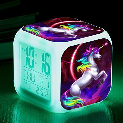 RAILONCH Einhorn Wecker für Mädchen, Digitaler Wecker mit LED Nacht, beleuchtetes Kindertagsgeschenk für Kinder Jungen und Mädchen (004)