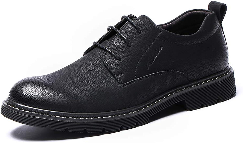 LXLA- Mnner Business Casual Lace up Lederschuhe, Herren Komfortable Runde Kopf Loafers Für Mnner (Farbe   braun, gre   41)