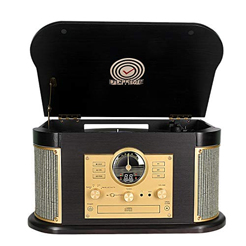 Record Player,Phonographs DLITIME 3-Speed Vinyl Turntable Built-in 2 x9W Bluetooth Speakers, Headphone Jack/Aux In/RCA/LED/USB/MP3/CD/FM/AM Record Player