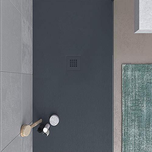VAROBATH -Plato de ducha de Resina, medida GRANDE - Color Grafito BIG STONE - Cargas Minerales - Textura pizarra, antideslizante y antibacteriano. Fabricado en España. (120x190)