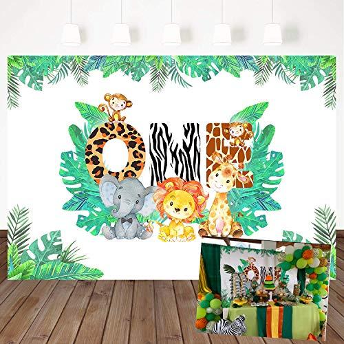 Mehofoto Jungle Theme 1st Birthday Backdrop Safari Animals Background for Boy 7x5ft Vinyl Lion Giraffe Elephant Monkey Zoo Animals Boy First Birthday Party Banner Decorations