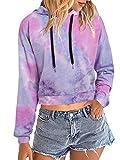 Auxo Mujer Sudaderas con Capucha Cortas Talla Grande Top Manga Larga Casual Tie Dye Hoodie Camiseta 01-Color Rosa M