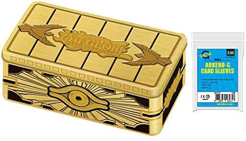 A YuGiOh! Mega Tin Box 2019 Gold Sarcophagus - TN19 | DEUTSCH | Yu-Gi-Oh! Karten NEU | + Arkero-G 100 Small Soft Sleeves japanische Kartenhüllen