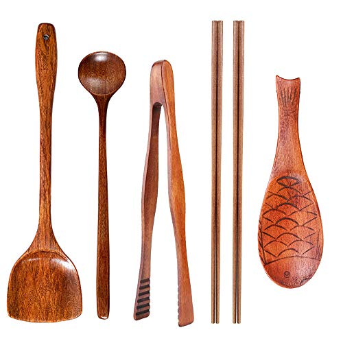 Kitchen (6 Pc Set) Wooden Utensils For Cooking - Wood Wok Shovel,Wooden Barbecue Tongs,Cooking chopsticks,Long Spoons Wooden,Nanmu Fish Shaped Rice Spoon.