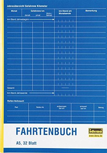 Idena 314251 - Fahrtenbuch, DIN A5, doppelseitig bedruckt, holzfreies Papier, 32 Blatt, 1 Stück