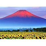 絵画風 壁紙ポスター (はがせるシール式) 赤富士 朝焼けの富士山と向日葵畑 ひまわり 幸運 開運 縁起物 風水 パワースポット キャラクロ FJS-033A2 (A2版 594mm×420mm) 建築用壁紙+耐候性塗料