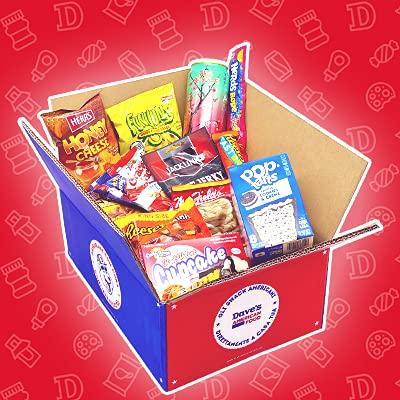 Confezione di SNACK AMERICANI by DAVE'S AMERICAN FOOD   Mistery Box dagli USA   SNACKBOX AMERICANA taglia M con 25 prodotti americani   Scatola Misteriosa Dolce e Salato, Caramelle Cioccolato Patatine
