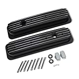 DEMOTOR PERFORMANCE Black Coated Center Bolt Short Valve Covers for SBC Small Block Chevy 305 350