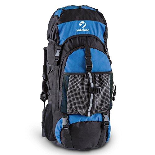 Yukatana Thurwieser - Rucksack, Backpacker, Trekking-Rucksack, Reiserucksack, 55 Liter, Nylon, wasserfest, Rückenpolsterung, 2 große Reißverschlussfächer, Seitentaschen, Netz, blau