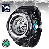 TEKMAGIC Digital Sport Dive Watch 100m Water Resistant Wristwatch with Electro Luminescent Light and Hourly Chime Function