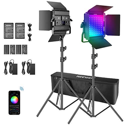 Neewer Kit de Batería de Luz de Video LED P200 RGB de 2 Pack con Control de Aplicación - CRI97 + Preestablecido de Luz RGB a Todo Color de 360° 9 Escenas con Soporte en U/Barndoor
