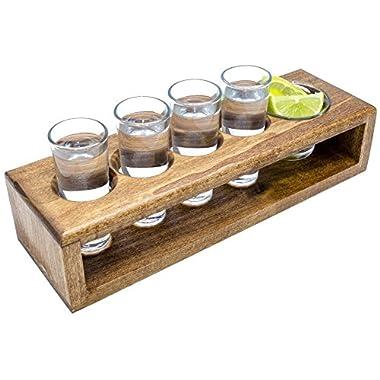 Handmade Wooden Shot Glass Set in Serving Tray, Includes 4 Shot Glasses & Garnish Dish | Kitchen Storage, Barware, Shot Glass Display, Tequila Shot Set