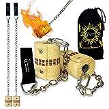 Pro Feuer Poi (2x65mm Docht - Medium Flammen) Fire Poi +Reisetasche. Swinging Poi, Spinning Pois und Feuer Jonglieren für Anfänger und Profis.