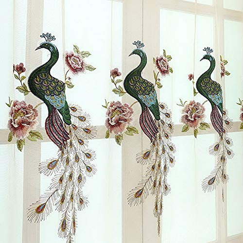 2 Panels Transparent Light Flow Thin Sheer Curtain Rod Pocket Flower Peacock Embroidery Drapery Dining Room Voile Gauze Living Room Window Treatment Set Voile Drapes Tulle for Villa Upscale Hotel