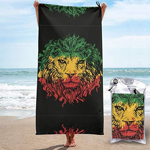 Sandfreie Badehandtücher Äthiopische Flagge Farben Lion Quick Dry Strandtücher Badetuch Travel Strandtuch, Schwimmsporttuch für Frauen Männer