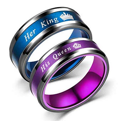 her King his Queen 刻印 カップルリング 金属アレルギー対応 肌に優しい サージカルステンレス 指輪 メンズ リング レディース リング 婚約指輪 結婚指輪 9−27号揃え (13レディース, 13)