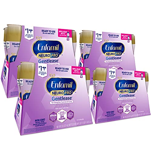 Enfamil NeuroPro Gentlease Ready to Feed Baby Formula, Brain & Immune Support, Reduces Fusiness, Crying, Gas & Spit-up in 24 Hours, 8 Fl Oz Bottles (6 count) (Pack of 4), Total 24 bottles, 192 Oz