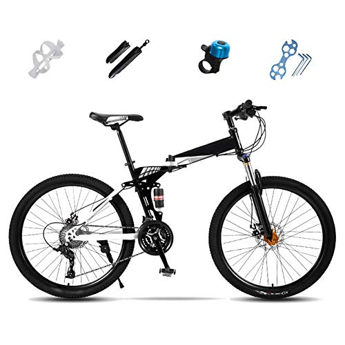 Llpeng Folding Mountain Bike, 27-Full Speed ​​Suspension Bicicletta, 24 Pollici, 26 Pollici, off-Road MTB Bike, Unisex Pieghevole Commuter Bike, Double Disc Brake (Color : White, Size : 26'')