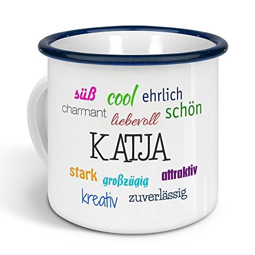 printplanet - Emaille-Tasse mit Namen Katja - Metallbecher mit Design Positive Eigenschaften - Nostalgie-Becher, Camping-Tasse, Blechtasse, Farbe Blau, 300ml