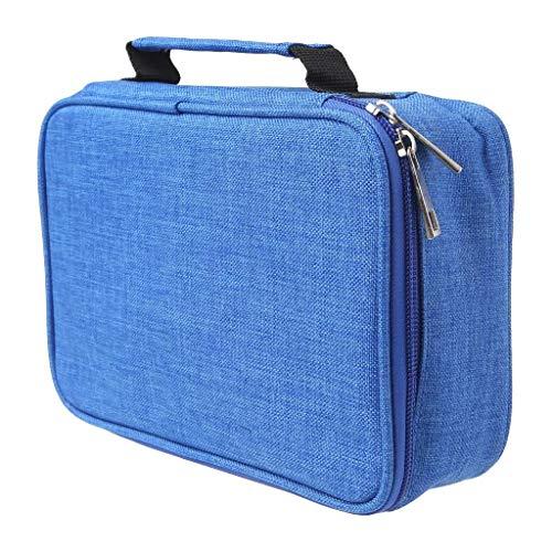 Durable 4 couches 72 trous Boîte à crayons Multifonction Poche de rangement Pratique Grande capacité Stylo Poche Papeterie (Color : Bleu)